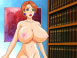 Scared anime librarian gets her monsterous tits fucked before her pussy gets reamed