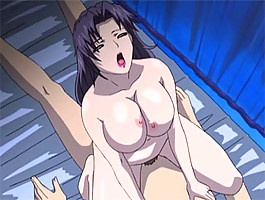 Busty hentai slut with huge knockers rides a big fat cock