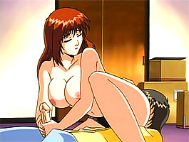 Horny anime babe with killer tits lets a young boy squeeze her tits and fuck her